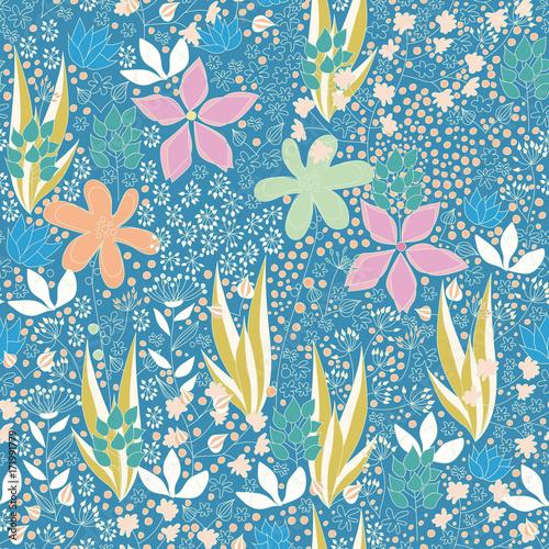 tlo-w-kolorowe-rosliny-kwiaty-na-niebieskim-tle-letnie-pole
