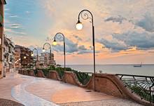 Ortona, Abruzzo, Italy: Seafront At Dawn, Beautiful Terrace On The Adriatic Sea