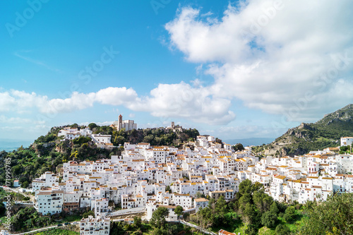 Typical andalusian white village Casares Canvas Print
