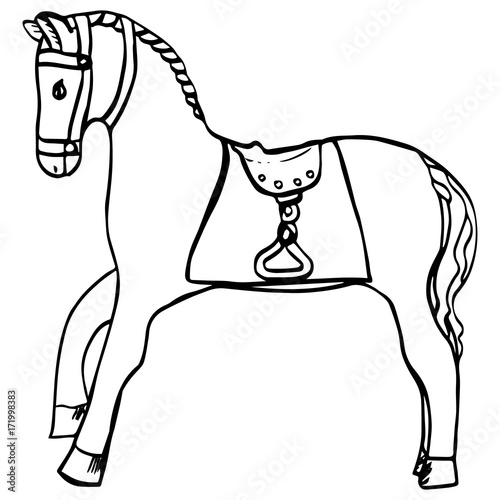 Hand Drawn Horse With Saddle And Harness Cartoon Animal For Kids