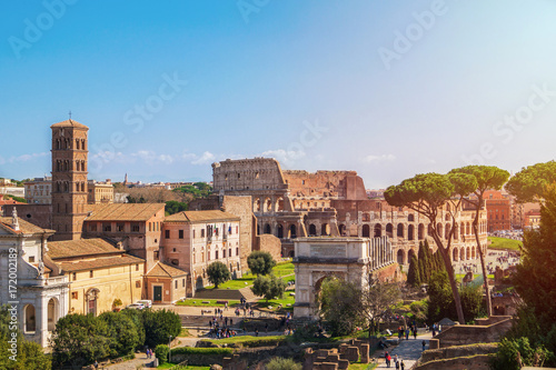 Fotografia, Obraz  View of Colosseum and Roman Forum from Palatine Hill in Rome, Italy