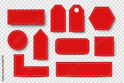 Fotografía  Vector set of realistic isolated red blank price tag coupons for decoration and covering on the transparent background