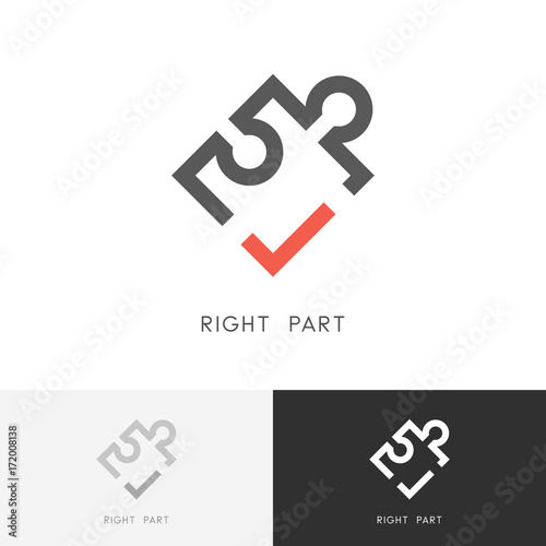 Fotografía  Right part logo - puzzle piece with red check mark or tick symbol