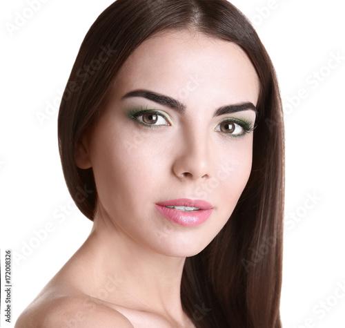 Küchenrückwand aus Glas mit Foto womenART Young beautiful woman with fancy green makeup on white background