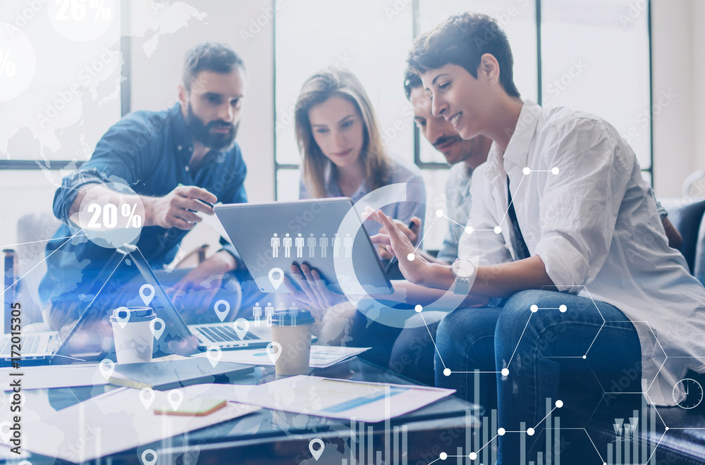 Fototapety, obrazy: Concept of digital diagram,graph interfaces,virtual screen,connections icon on blurred background.Coworking team at business meeting.Group of colleagues working with startup project in modern office.