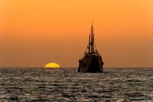 Ocean Sunset Ship Silhouette