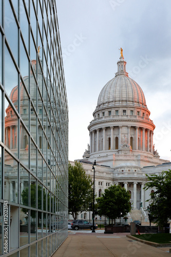 Reflecting Madisons Changing Capitol >> The Reflection Of Wisconsin State Capital On A Glass Building At