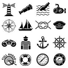 Nautical Icons Set, Simple Style