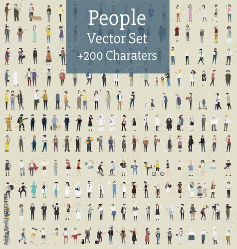 Valokuvatapetti Vector set of illustrated people