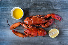 Two Cooked Red Lobsters With B...