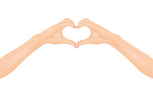 Woman's Hands Make Heart Shape. In Love Concept. Isolated Vector Illustration.