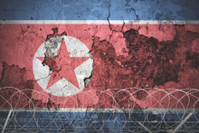 North Korea Flag With Barbed Wire