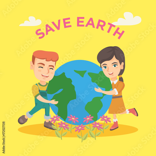 Caucasian Boy And Girl Hugging With Love The Earth Planet And Text