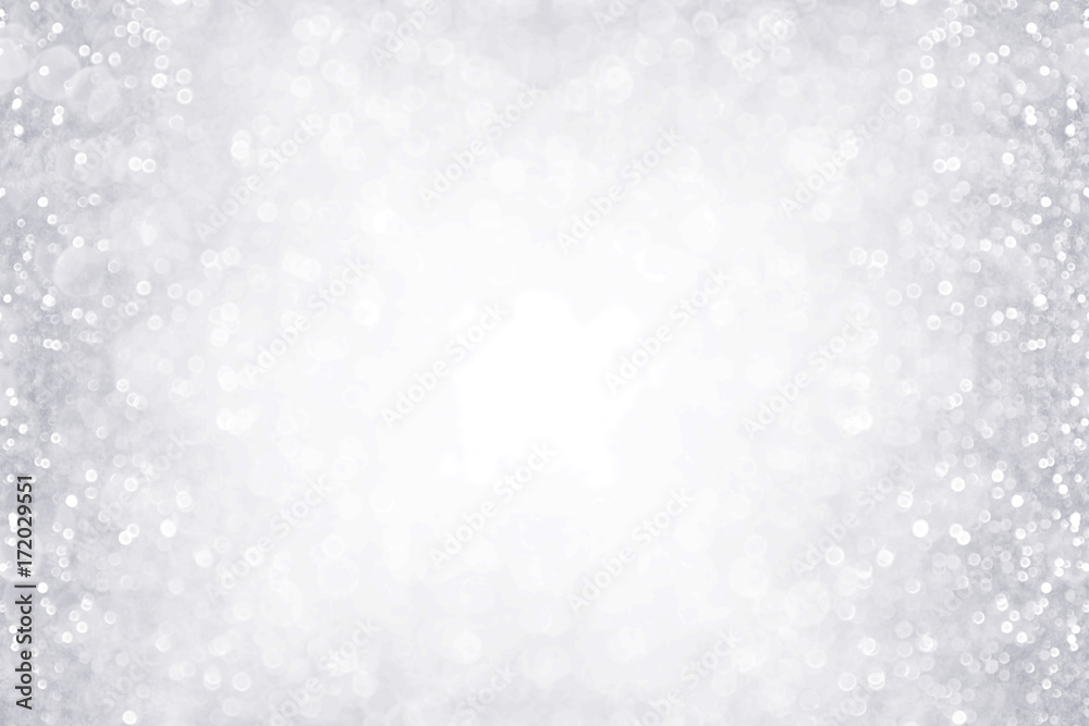 Fototapety, obrazy: Elegant silver and white glitter sparkle confetti background border for happy birthday, anniversary, winter or Christmas background