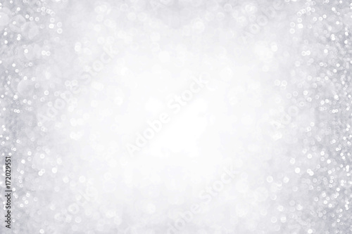 Fotografie, Obraz  Elegant silver and white glitter sparkle confetti background border for happy bi