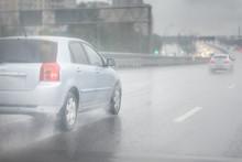 Drive Car In Rain On Asphalt W...