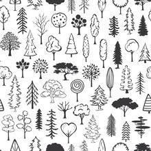 Black And White Doodle Trees S...