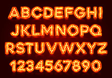 Red Fluorescent Neon Font On D...
