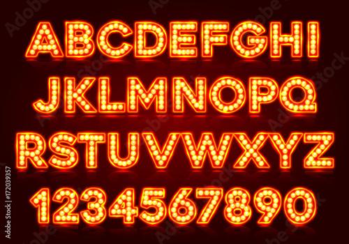 Fotomural  Red fluorescent neon font on dark background