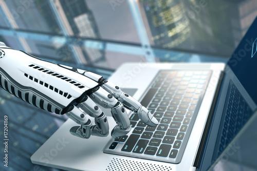 Foto  Robot arm futuristic design with keyboard