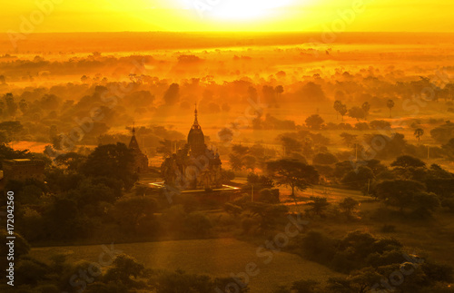 Bagan Pagodas during sunrise, Myanmar Wallpaper Mural