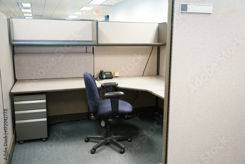 Fotografiet cubicle and office furniture in office room