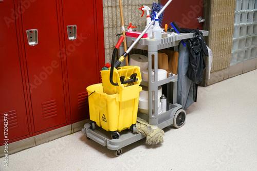 Fotografie, Obraz  School building interior cleaning work tools