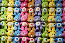 Colorful Bears Hanging On The Wall As Prize In Carnival