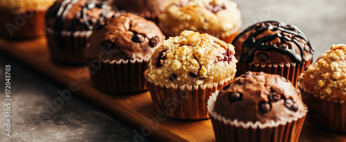 Chocolate Muffin with Chocolate Chips. Selective focus. Canvas Print