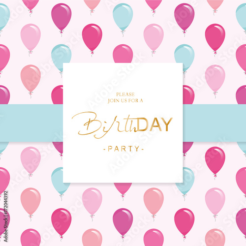 Fototapeta Birthday Party Invitation Card Template Included Seamless Pattern With Glossy Pink And Blue Balloons