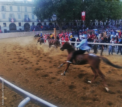 Palio di Asti con corsa dei cavalli Canvas Print