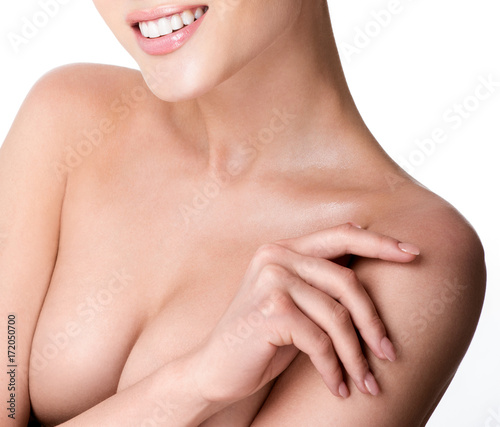 Beautiful young woman with clean skin nude topless breasts Wallpaper Mural