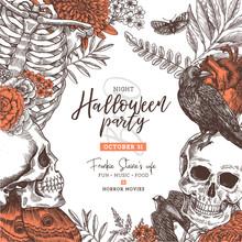 Halloween Vintage Party Invitation. Halloween Design Template. Vector Illustration