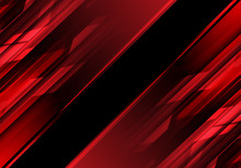 Abstract Red Polygon Light In Black Design Modern Technology Background Vector Illustration.