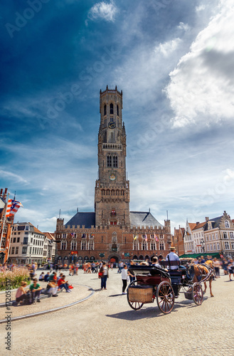 Poster Bridges Grote Markt square in Brugge, Belgium