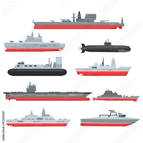 Cuadros en Lienzo Different types of naval combat ships set, military boats, ships, frigates, subm