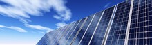 Solar Panels On The Sky, 3d Rendering
