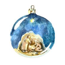 Watercolor Christmas Ball. Hol...