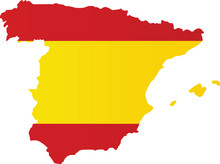 Spain Flag Map. Vector Illustr...