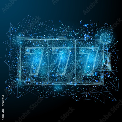 Polygonal Slot Machine Isolated On Dark Background Lucky Seven