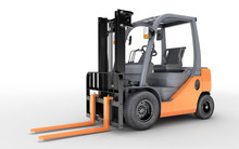 3d Rendering Forklift Truck On White Background
