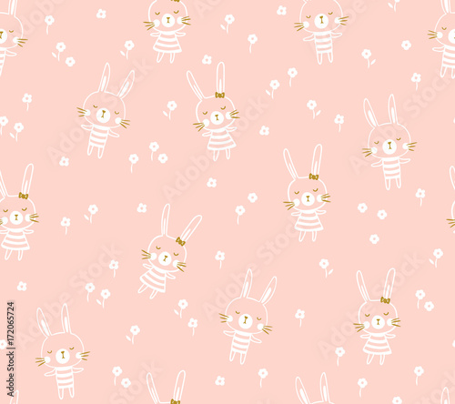 Easter seamless pattern design with bunnies. Light baby print for child fabric or gift paper. Vector illustration.