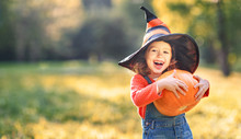 Child Girl With Pumpkin Outdoo...