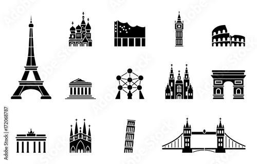 Wahrzeichen von Europa - Iconset (in Schwarz)