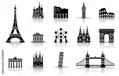 Wahrzeichen von Europa - Iconset (Schwarz) Canvas Print