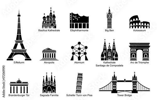 Fotografie, Obraz  Wahrzeichen von Europa - Iconset (Schwarz/ beschriftet)