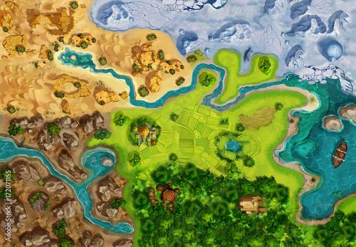 Mapa gry, plansza, widok z góry. Styl średniowieczny. Graficzna grafika komputerowa CG, kolorowa ilustracja koncepcja, realistyczne tło stylu kreskówki