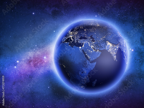 Planet Earth in galaxy stars 3d rendering