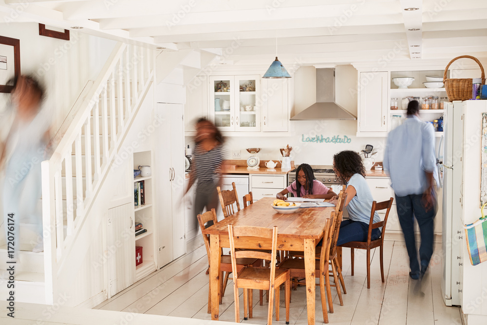 Fototapety, obrazy: Interior Of Busy Family Home With Blurred Figures