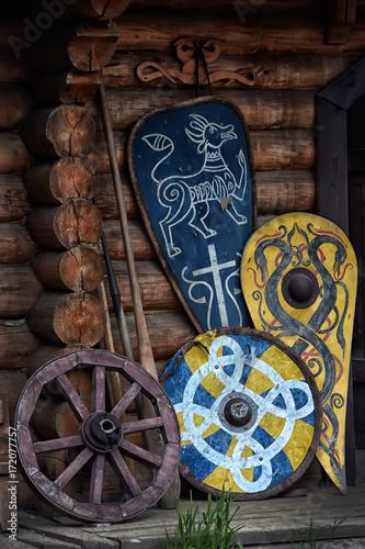 Staande foto Kinderkamer Old traditional painted viking wooden shields